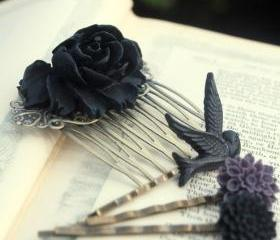 Gorgeous Black Rose Cabochon Hair Comb & Bobby Pins Set.......